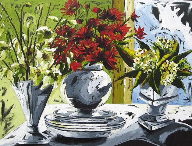 "Julia Gilmore ~ Orchids, Dahlias & Hydrangeas 36"" x 48"""