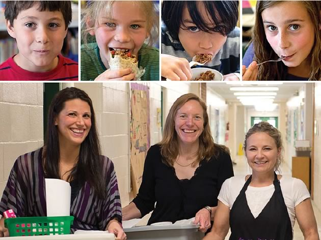 """top : The happy faces of well-fed Belfountain kids. bottom, left to right : Belfountain parents Katarina Prokosch and Jennifer Schill, and Stacey Fokas of Freshalicious: """"Making fresh food connections even stronger."""" Photo by Pete Paterson."""