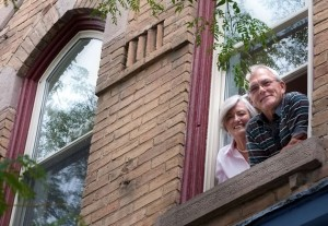 "Barb McDiarmid (right) and her partner Rae Brown occupy a full two storeys above Broadway. Barb loves the leafy view from the windows and being able ""to walk everywhere."" Photo by Rosemary Hasner."