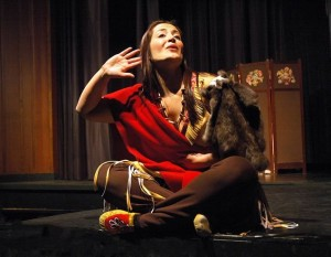 """Cheri Maracle, who regularly portrays """"the Mohawk Princess"""" in Dinah Christie's play Paddle Song, electrified audiences when she performed """"The Cattle Thief"""" at the Six Nations All-Star Showcase at the Metro Toronto Convention Centre in July. """"I was so proud to portray Pauline Johnson in front of my own people,"""" she says. Photo by Robert Warren."""