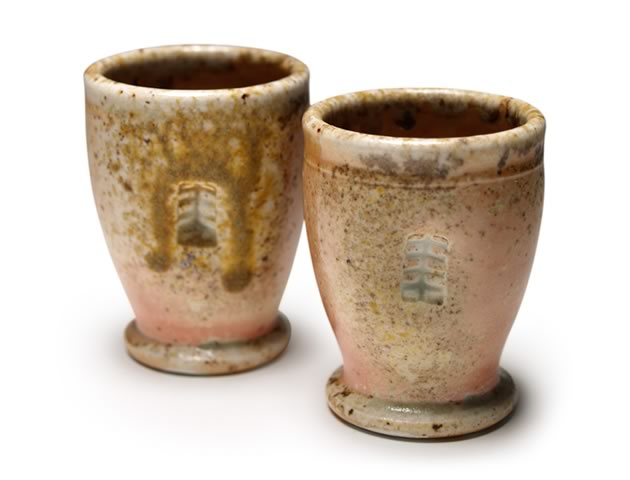 "Shot cups, porcelain, Shino & copper glazes, ash runs, wood fired, 2.75"""