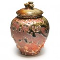 Tri-knob lidded jar, stoneware, crawly Shino glaze, wood fired, 5.5""