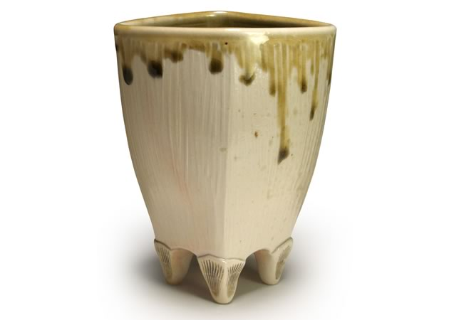 Diamond footed vase, porcelain, amber celadon glaze, wood fired, 5.75""