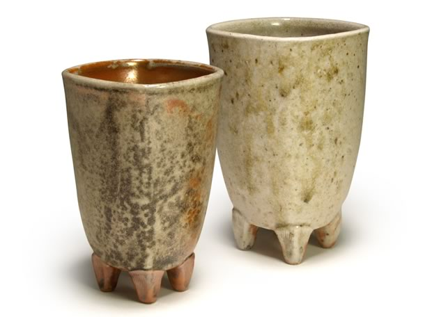 Square footed cups, porcelain, Shino glaze, fly ash, wood fired, 5""