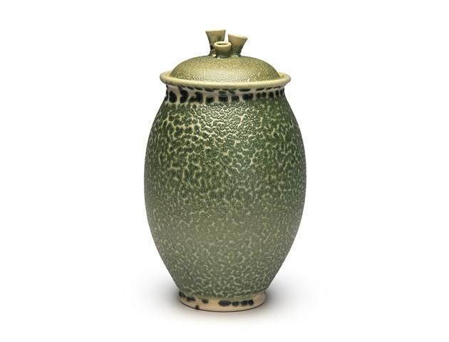 "Tri-knob lidded jar, porcelain, lizard glaze, 8.5"""