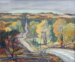 """Inglewood Road, Caledon Mountain"" (c.195o), oil on canvas, by George Broomfield. PAMA Permanent Collection."