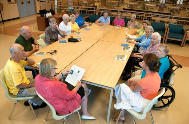 The seniors' book club discusses a novel in Caledon East. Photo by Pete Paterson.