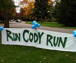Run Cody Run banner at the Southern end of the Bruce Trail