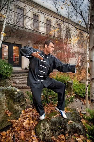 John Paterson strikes a pose during a Qigong demonstration at October's Weekend in the Woods at Hockley Valley Resort. Photo by Rosemary Hasner.