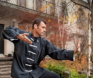 John Paterson strikes a pose during a Qigong demonstration at October's Weekend in the Woods at Hockley Valley Resort. Photo by Rosemary Hasner
