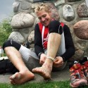 After more than 885 kilometres, Cody Gillies' feet finally got a break. Photo By Lorrie Bakker