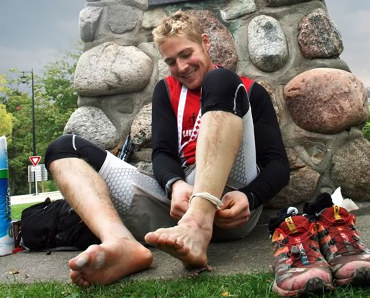 After more than 885 kilometres, Cody Gillies' feet finally got a break.
