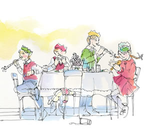 Headwaters Nest - The Kids Table. Illustration by Shelagh Armstrong.