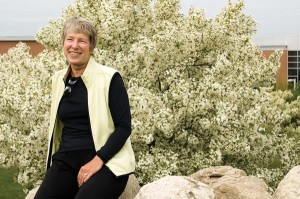 "Lynn Sinclair-Smith has been the driving force behind the creation and maintenance of the gardens for ten years. ""Her enthusiasm for life and for people keeps us invigorated and eager to continue,"" says one volunteer. Photo by Pete Paterson."