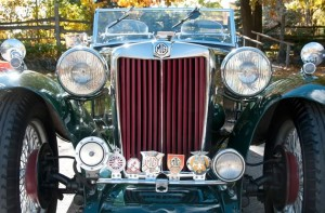Club badges on the bumper of a 1948 MG TC owned by Malcolm Stanton.