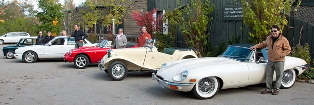 1970 Jaguar E-Type, Peter Pontsa; 1951 MGTD, Jean Louis Valade; 1975 MGB, Mary Valade; 1997 Jaguar XJR, Ken Stahl. Photo by Pete Paterson.