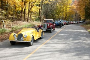 On the road again: 1967 Morgan Plus 4, owned by Marlies Sands; 1953 MG TD, Bill and Jane Tully; 1954 Allard J2X, Alan Sands; 1977 MGB Roadster, Mike Davies; 1961 MGA, Mike Davies; 1976 TR6, Ralph Philp; two red MGBs, Tom Hodgson and Mike Davies; 1975 MGB, Mary and Jean Louis Valade; 1970 Jaguar E-Type, Peter Pontsa; 1967 Morgan Plus 4, Linda Guthrie; 1948 MG TC, Malcolm Stanton; 1929 Rolls Royce Model 20, Dorien Berteletti. Photo by Pete Paterson.