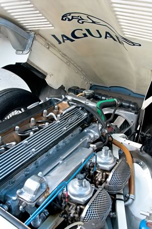 Under the hood of a 1970 Jaguar E-Type. Photo by Pete Paterson.