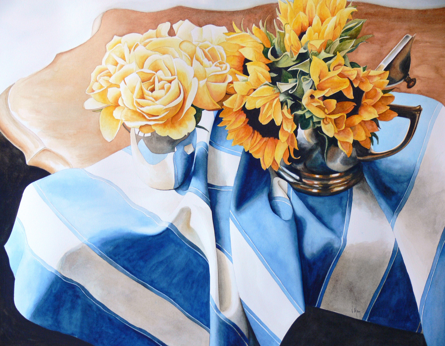 "Virginia May ~ Blue and Gold 24"" x 30"" watercolour"