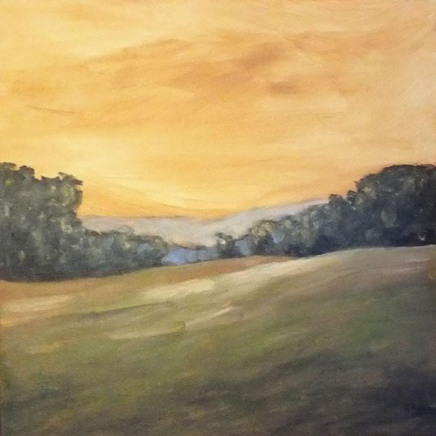 "Virginia May ~ Gold Sky – Caledon 18"" x 18"" acrylic"
