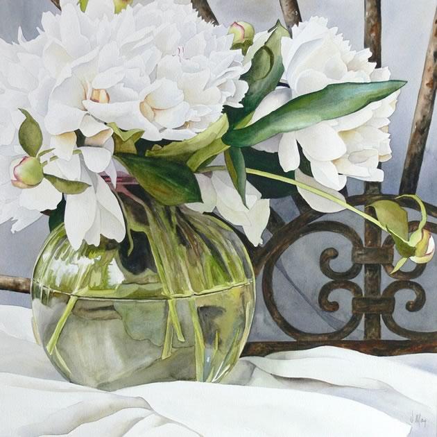 "Virginia May ~ The Green Vase 21"" x 21"" watercolour"
