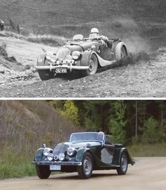 Alan Sands competed in the 1957 Hockley hill climb in his '55 Morgan. As he climbed the hill, a BEMC club member snapped a photo of him sliding around a corner, spitting gravel from his rear wheels. Fifty-odd years later, Alan drove the same Morgan up the same hill, and his wife Marlies took a picture of him going around that same corner.