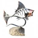 """Jeff Smith ~ Copper Head mild steel, copper and limestone 24 x 30 x 15"""""""