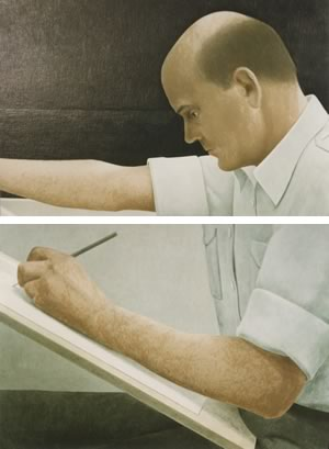 Woods' challenge with this painting by Christopher Pratt, shown here in two details, was to restore the pigment fading from the subject's skin. Photo by Rosemary Hasner / Black Dog Creative Arts.