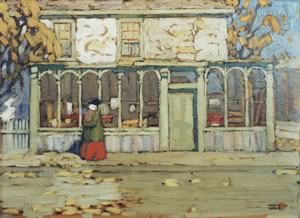"""Jayne Woods cleaned years of grime from this Lawren Harris painting called """"Woman on the Street."""""""