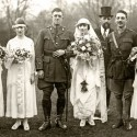 Romance bloomed apace at Wynnfield and at the hospital, so much so the place was sometimes called the 'Perkins Bull Matrimonial Bureau.' This is the Gairdner-Smith wedding in the garden at Wynnfield.