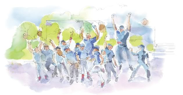 Each time, the coaches thanked the other team, led a cheer, had fun out on the field and went over some lessons learned. Illustration by Shelagh Armstrong.