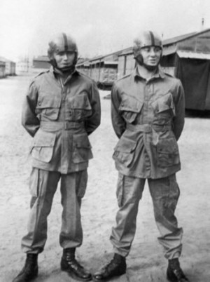 Thomas (right) and another paratrooper in their training gear at their base in Benning, Georgia.