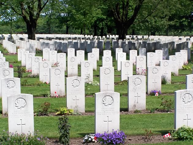 Some of the hundreds of Canadian graves at the Groesbeek Canadian War Cemetery near the town of Groesbeek, Netherlands, final resting place for 2,338 Canadian soldiers from World War II.
