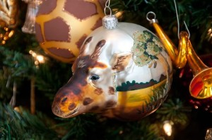 Hand-blown in Poland, a giraffe head protrudes on one side of this ball and the rest of it depicts African grassland and acacia trees. Photo by Pete Paterson.
