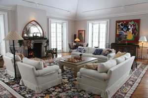 The living room is a warm, generous space capaciously designed for the comfort of friends, family and dogs.