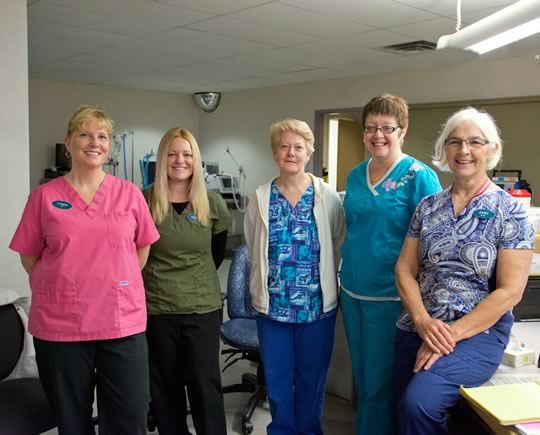 Lynda Lidwill, Wendy McDonald, Roseanne Rutledge, Judy Lomas and Jane Howard - ICU nurses. Photo by Pete Paterson.
