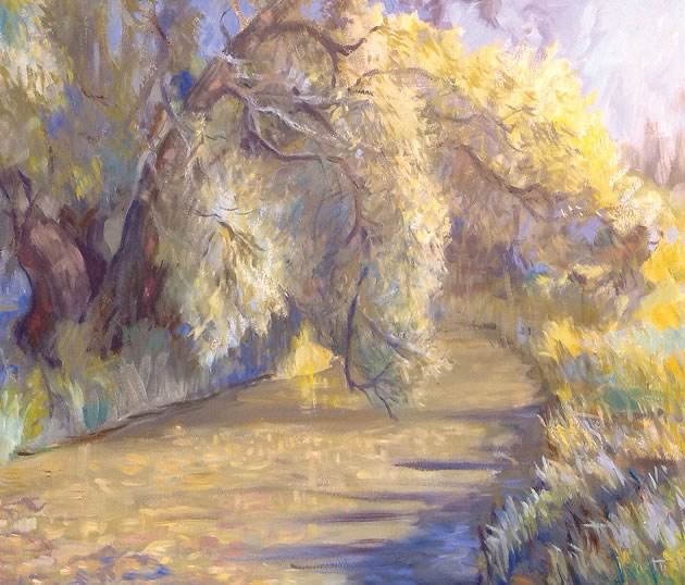 "Linda Jenetti ~ Boyne River from 4th Line Bridge 24 x 30"" oil on canvas"