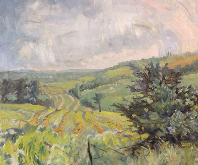 "Linda Jenetti ~ Fifth Line, looking east 24 x 30"" oil on canvas"