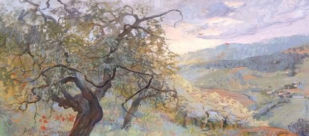 """Linda Jenetti ~ Olive Trees 48 x 60"""" oil on canvas"""