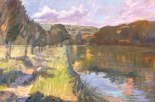 """Linda Jenetti ~ Tiber River near Monte Molino 36 x 48"""" oil on canvas"""