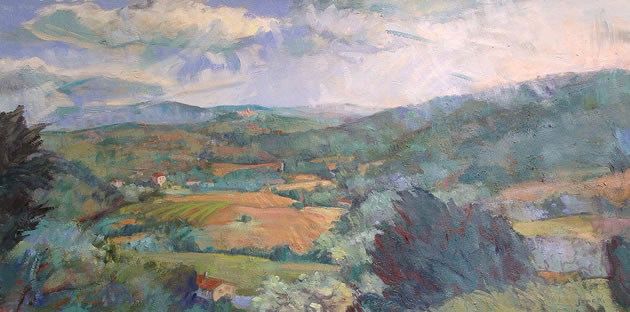 "Linda Jenetti ~ View of Todi 25 x 40"" oil on canvas"