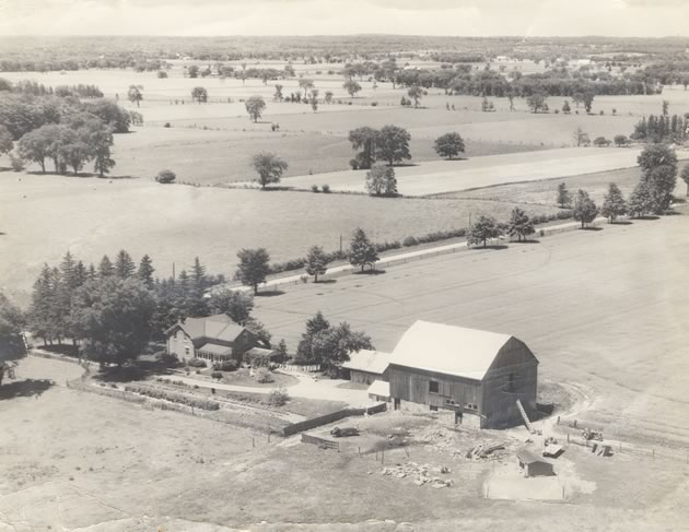An aerial photo of the Hostrawser farm near Cheltenham as it was in the 1950s.