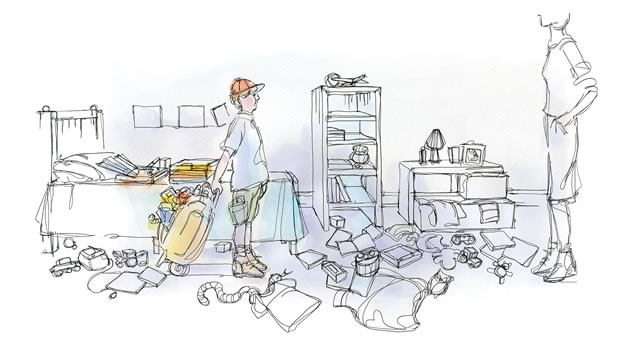 """""""I've been packing, Mom! Look!"""" Illustration by Shelagh Armstrong."""
