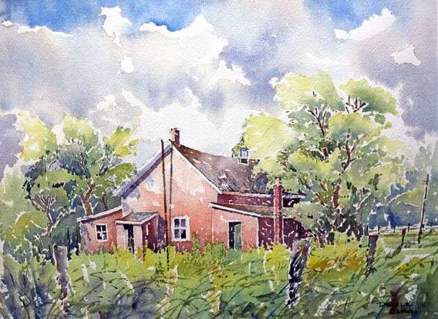 "House on 50, 10"" x 14"" ~ Douglas Brown"
