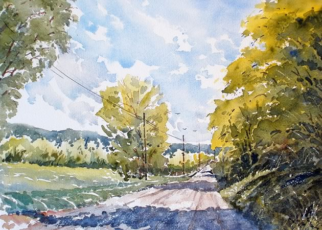 "Road to Hockley, 10"" x 14"" ~ Douglas Brown"
