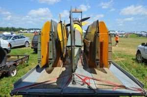 """Purchased in Pennsylvania, the """"dog-eared and tired"""" Tiger Moth was trailered to an airfield near Grand Valley, then divvied up among the three men's homes as they worked on various parts. Photo by Pete Paterson."""