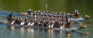 Two dragon boat crews battle it out at a recent regatta at Heart Lake Conservation area. Photo by Pete Paterson.