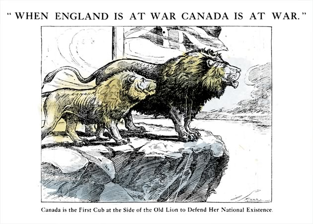 From the front page of the Brampton Conservator, August 5, 1914. Illustration credit the Montreal Star. Illustration Courtesy Peel Art Gallery, Museum and Archives.