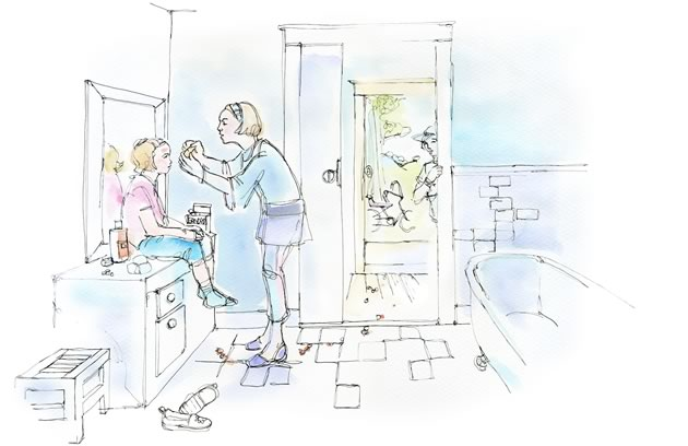 My mother picked me up at the door – with stones stuck in my face and blood everywhere. Illustration by Shelagh Armstrong.
