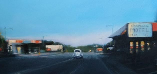"Motel (detail), oil, pencil on paper, 18 x 24"" ~ Diana Hillman"